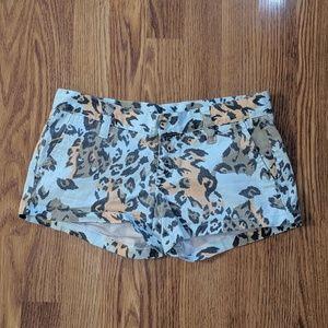Hurley Leopard Print Beach Bum Jean Shorts